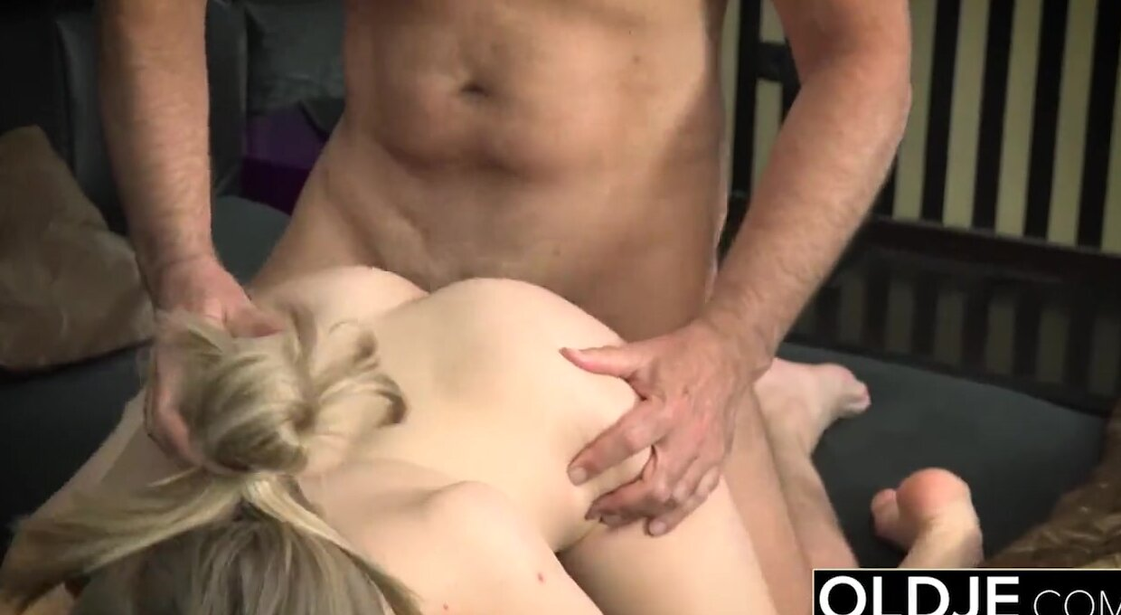 Her Young Pussy Gets Fucked By Old Man and Gets Cum On Tits Old ...